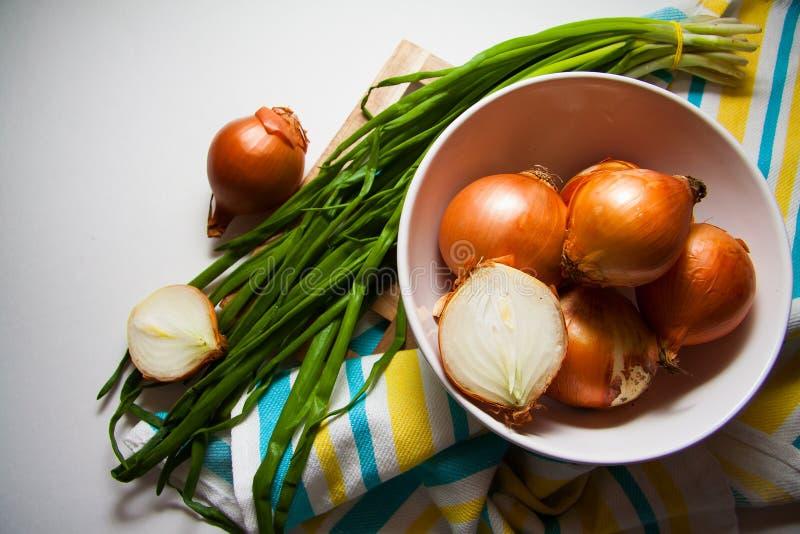 Oogst van uien stock afbeeldingen