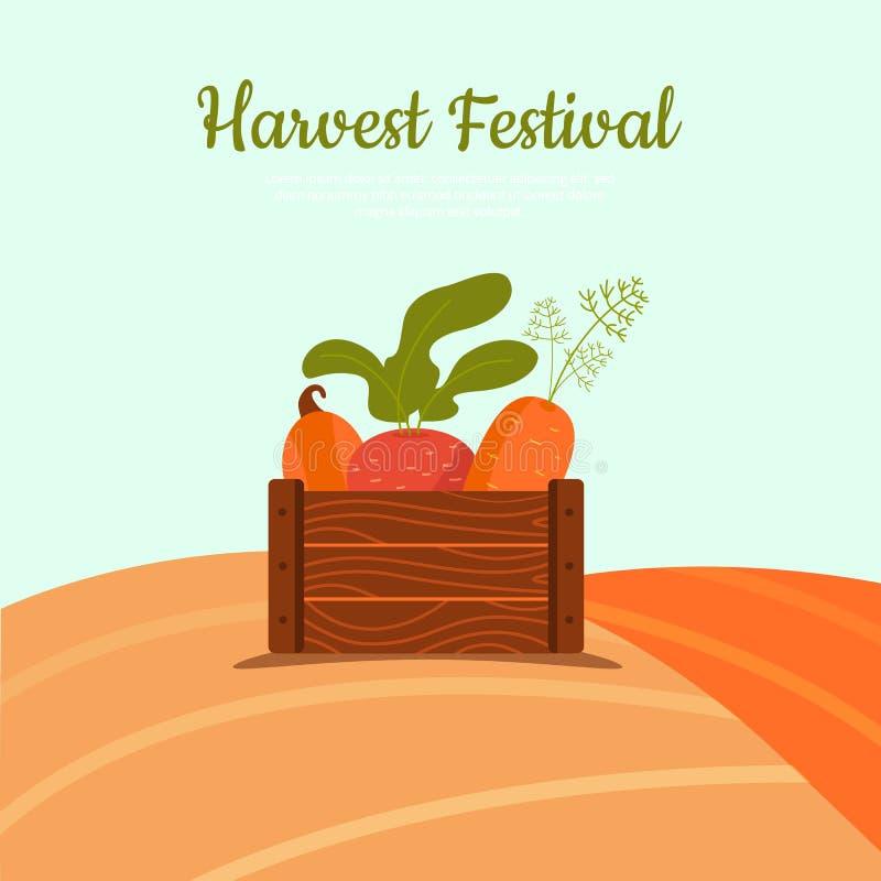 Oogstkar met bieten, wortel en pompoen op witte achtergrond worden geïsoleerd die Oogstconcept in doos vector illustratie
