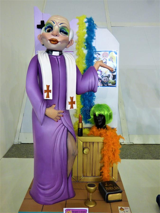 Ooh Aah Vicar, You`re Such A Drag.... A fanciful sculpture made of paper, wax, wood and polystyrene foam. Produced for the Fallas, a traditional celebration stock image