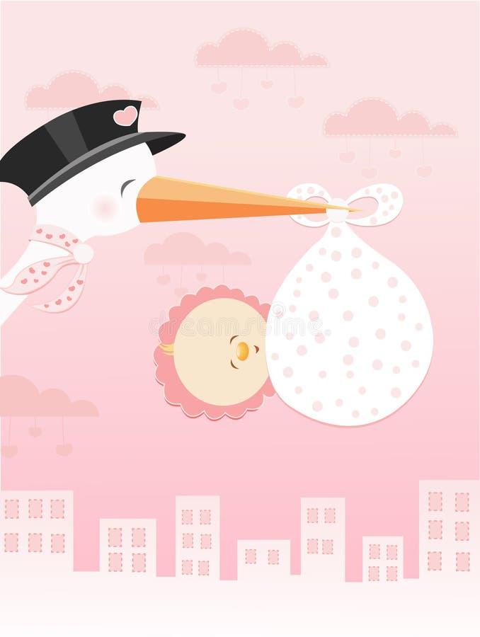 Ooievaar die met het Meisje van de Baby vliegt royalty-vrije illustratie