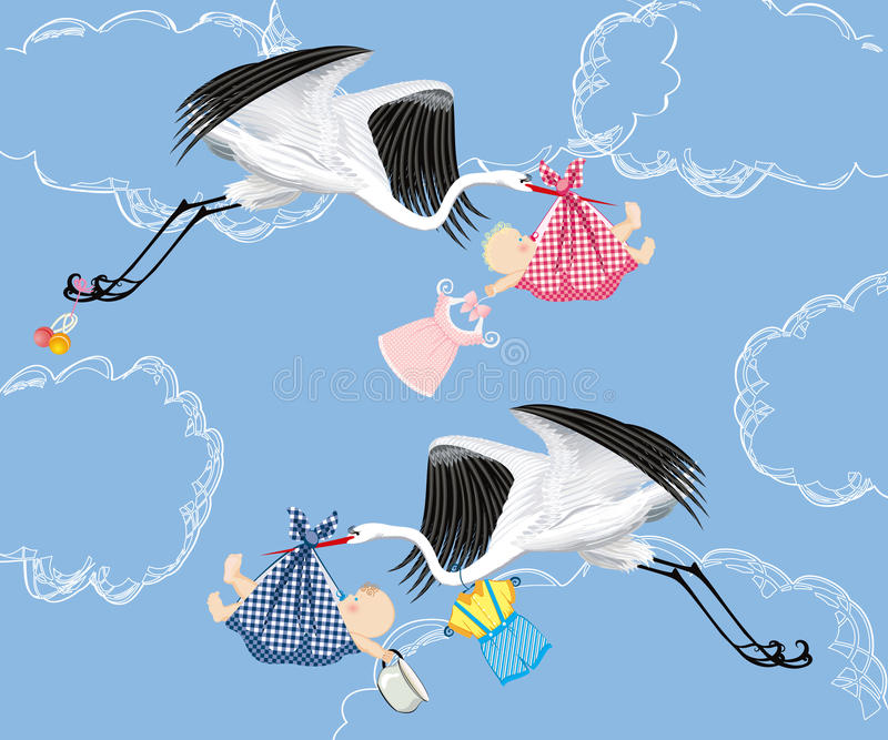 Ooievaar en baby stock illustratie
