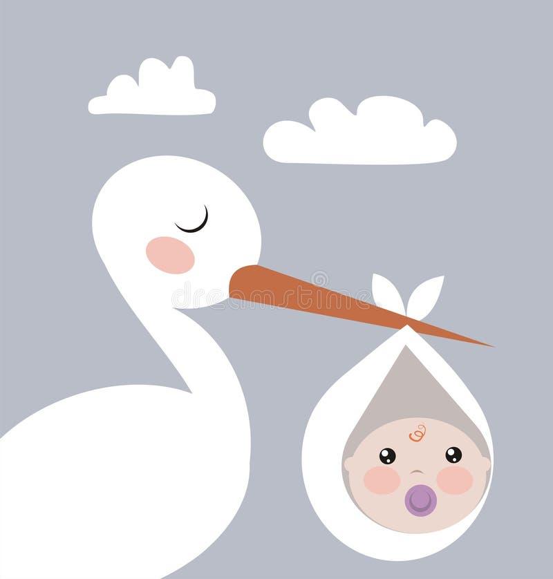 Ooievaar met baby royalty-vrije illustratie