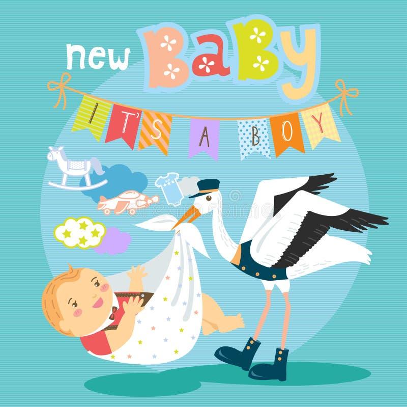 Ooievaar met babyjongen vector illustratie