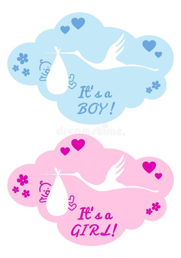 Ooievaar met babyjongen en meisje, vector royalty-vrije illustratie
