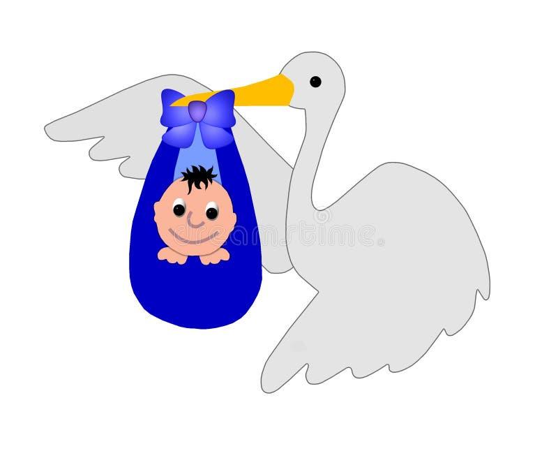 Ooievaar met een babyjongen vector illustratie