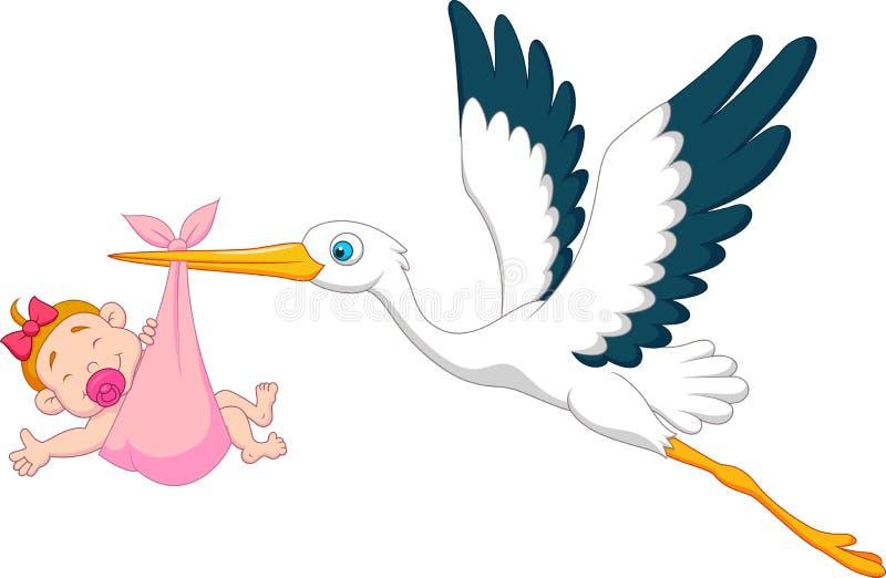 Ooievaar met het beeldverhaal van het babymeisje vector illustratie