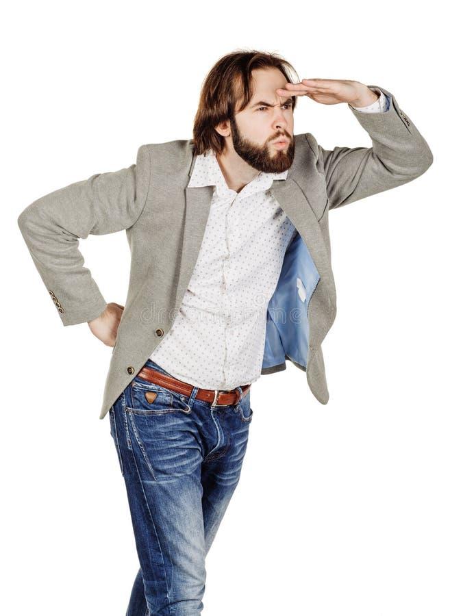 Ooking бизнесмена отсутствующий пока держащ его руку над его наблюдает к стоковые фотографии rf
