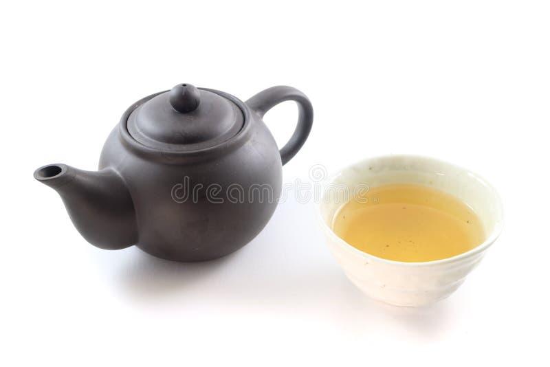 Oolong tea with Earthenware Teapot stock image