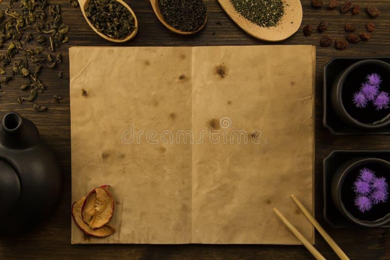 Oolongthee in houten lepel op een achtergrond van oude uitstekende boeken royalty-vrije stock fotografie