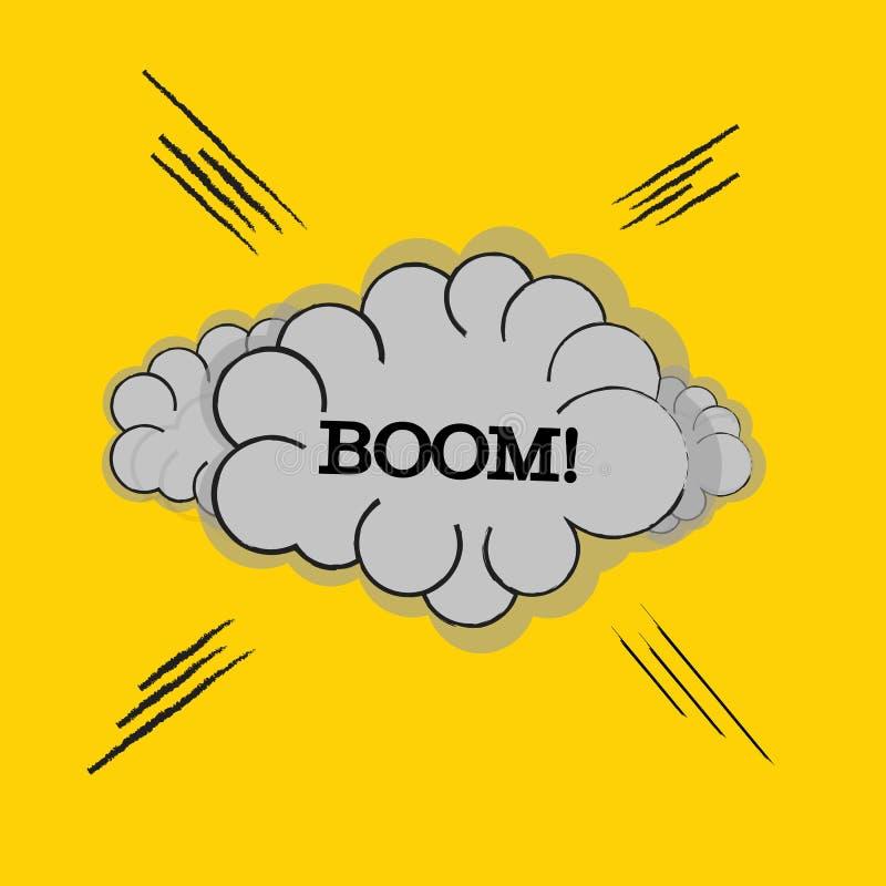 OOM! exprimindo a cenografia do efeito sadio para o fundo cômico, banda desenhada Nuvem com raio e CRESCIMENTO! exprimindo o efei ilustração royalty free