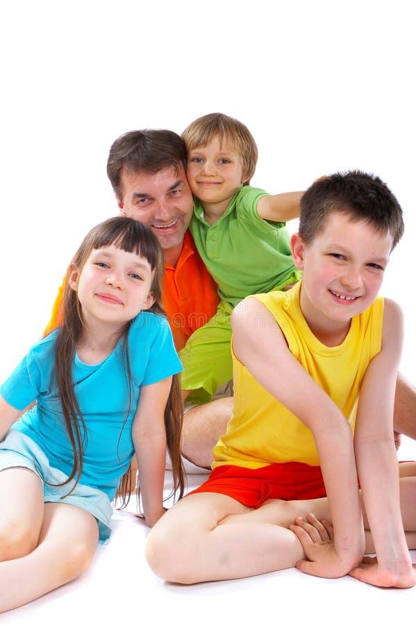 Oom met neven en nicht stock afbeelding