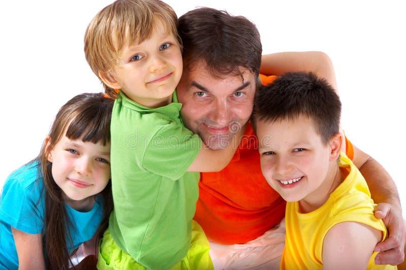 Oom met neven en nicht stock fotografie