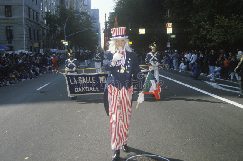 Oom Sam Marching in Columbus Day Parade, de Stad van New York, New York royalty-vrije stock afbeeldingen