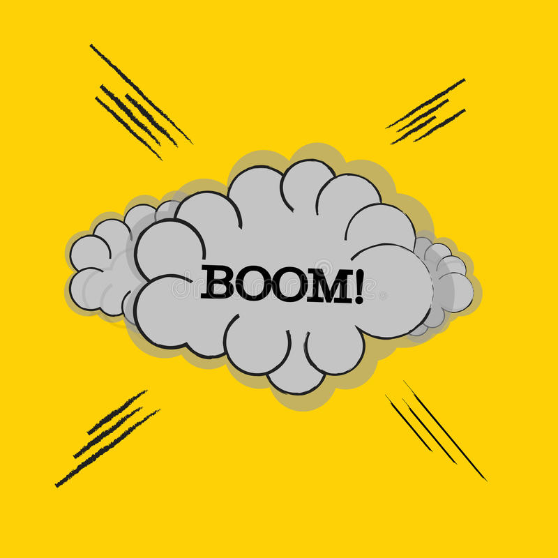 OOM! wording sound effect set design for comic background, comic strip. Cloud with ray and BOOM! wording sound effect . royalty free illustration