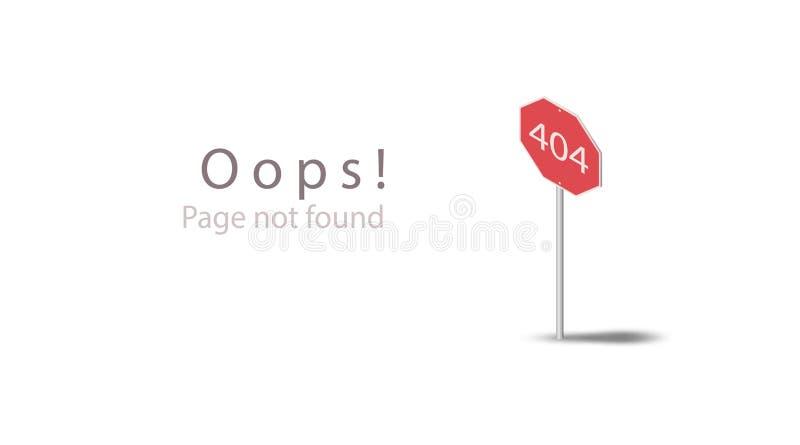 404 Oops! Страница не нашла Шаблон дизайна равновеликий для страницы вебсайта Плоский красный знак значка дороги 3d изолированный бесплатная иллюстрация