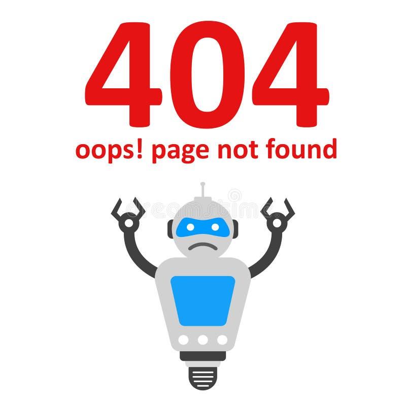 Oops 404 błędów strona znajdująca Futurystyczny robota pojęcie - wektor ilustracji