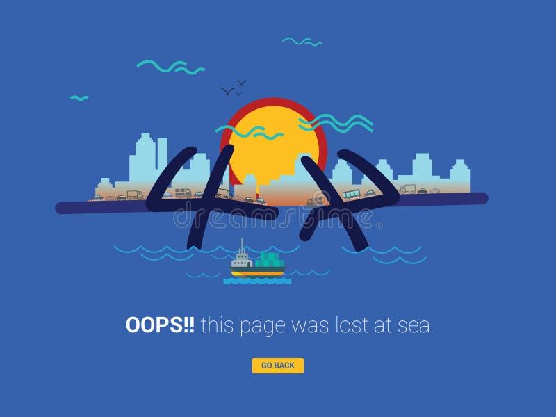 Oops begrepp f?r sida f?r 404 fel funnit inte stock illustrationer