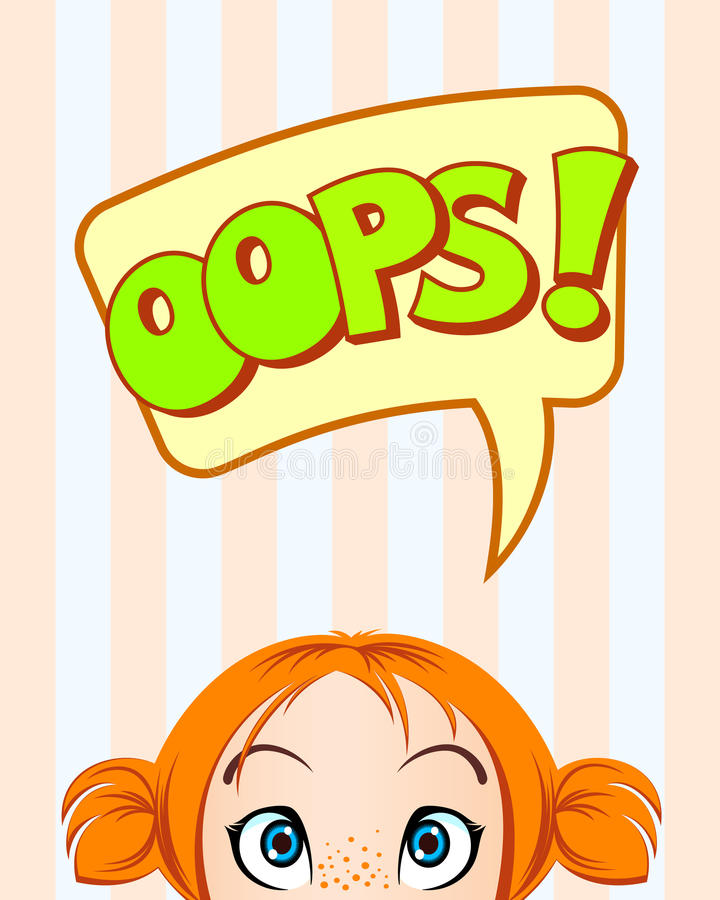 OOPS bubbla Flicka med förvånade blickar stock illustrationer
