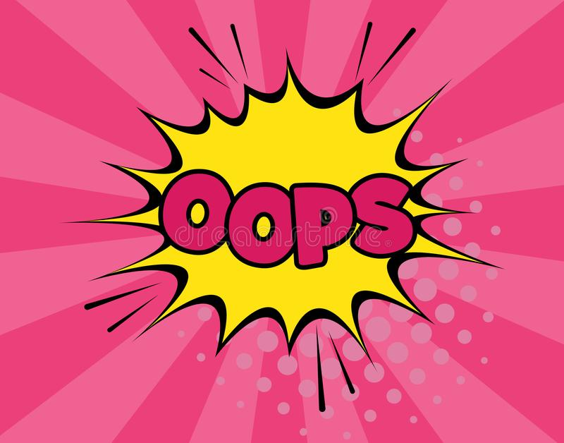 Oops comic text speech bubble vector isolated template. Sound effect bang cloud icon of color phrase lettering stock photos
