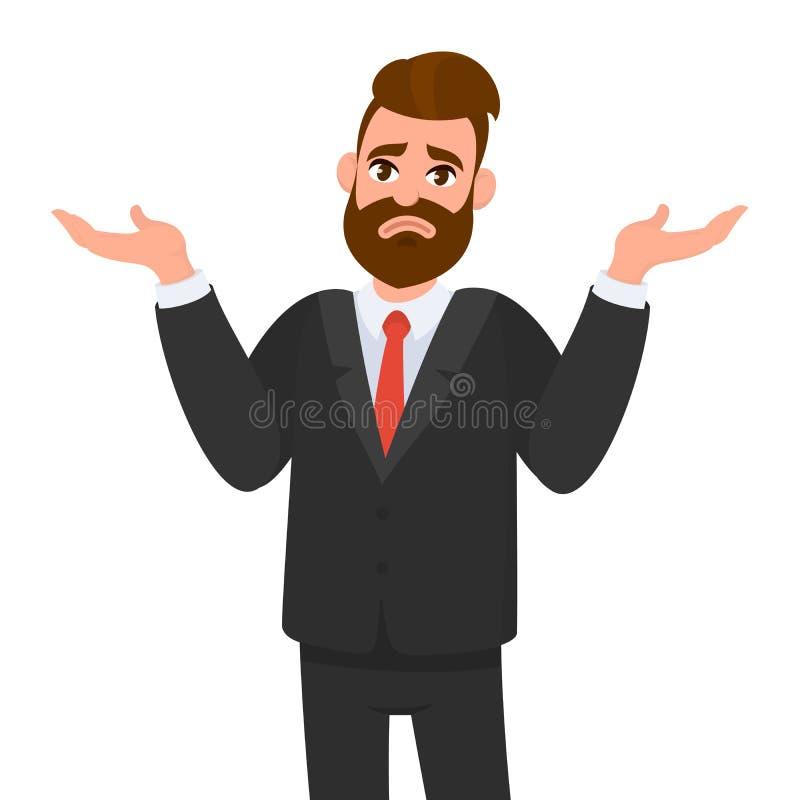 oops droevig Ik trek `t het weet aan De jonge bedrijfsmens haalt op, toont hulpeloos gebaar en spreidde zijn handen uit, weet hij royalty-vrije illustratie