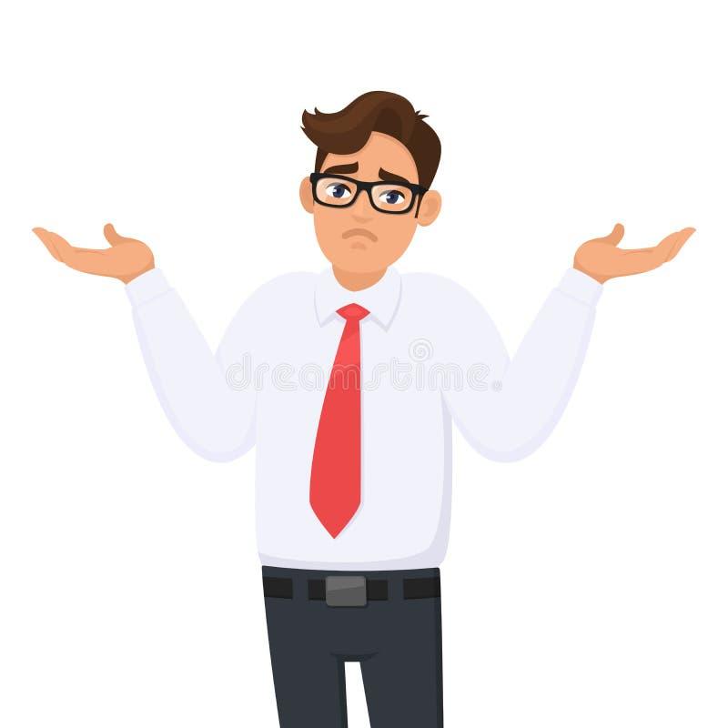 oops droevig Ik trek `t het weet aan Het portret van verwarde jonge zakenman die schouders ophalen, toont hulpeloos vraaggebaar stock illustratie
