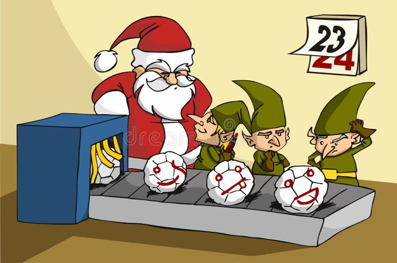 Oops! elfi che scherzano alla fabbrica del giocattolo di natale illustrazione vettoriale