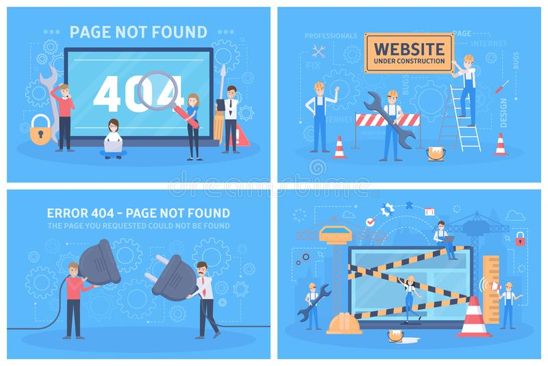 Oops 404 error page not found concept set. Illustration collection of internet connection problem with little people and blank paper sheet. Site under royalty free illustration
