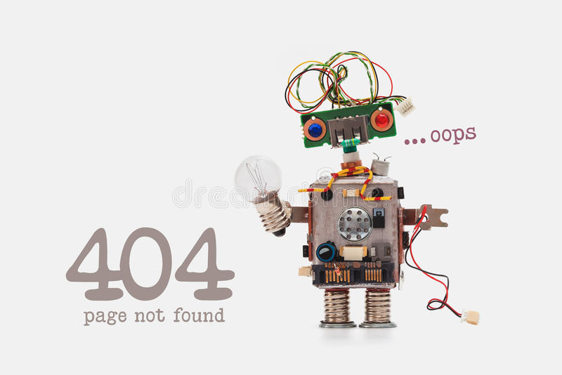 Download Oops 404 Error Page Not Found. Futuristic Robot Concept With Electrical Wire Hairstyle. Circuits Socket Chip Toy Stock Photo - Image of found, electrical: 86408888