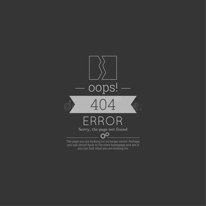 oops fel 404 Ledset inte-funnen sida royaltyfri illustrationer