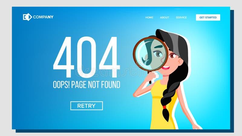 Oops grundar sidan inte fel som 404 landar sidavektorn royaltyfri illustrationer