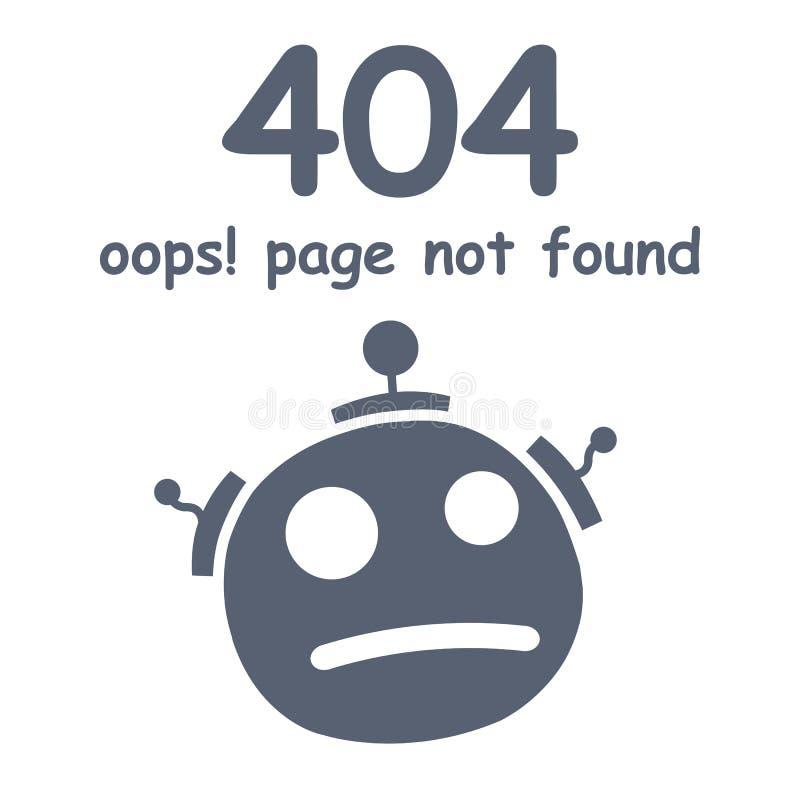 Oops inte-funnen sida för 404 fel Futuristiskt robotbegrepp stock illustrationer