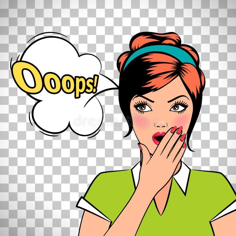 Oops mujer cómica del arte pop ilustración del vector