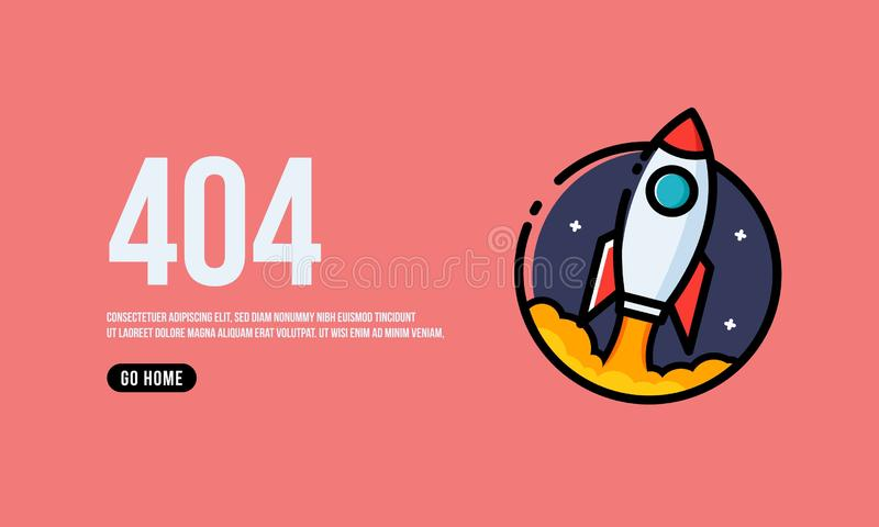 Oops 404 Page. Interface Design with Rocket Ship Vector Illustration stock illustration