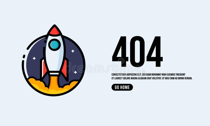 Oops 404 Page. Interface Design with Rocket Ship Vector Illustration royalty free illustration