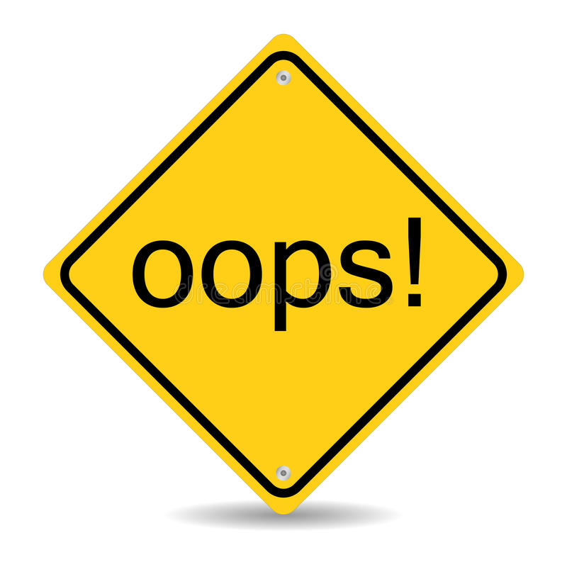 Oops Road Sign stock illustration