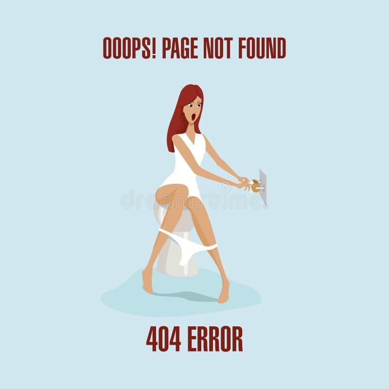 Oops! sida att inte grunda webbplatsvarning för 404 fel royaltyfri illustrationer