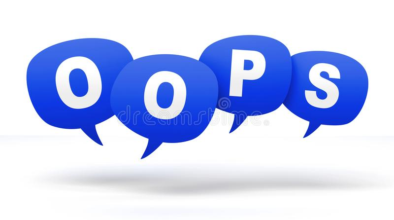 oops speech bubbles 3d concept illustration royalty free illustration