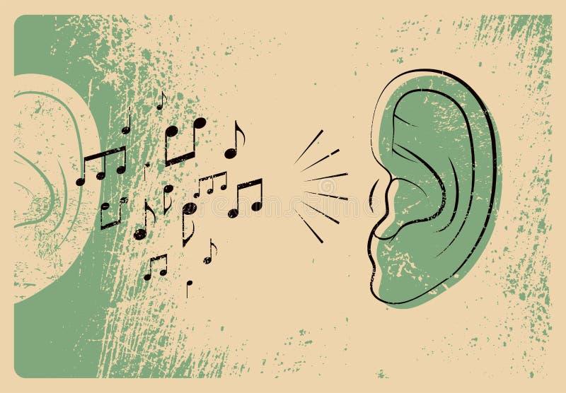 Oor met muzieknota's De stijlaffiche van muziek typografische uitstekende grunge Retro vectorillustratie stock illustratie
