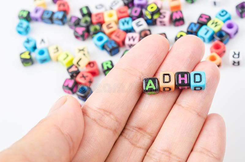Oordning för Hyperactivity för uppmärksamhetunderskott eller ADHD-begrepp arkivbilder