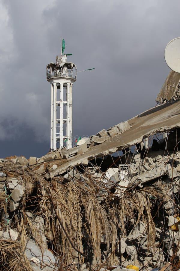 Oorlog beschadigde moskee in Shejayia, de Stad van Gaza in Gaza stock foto's