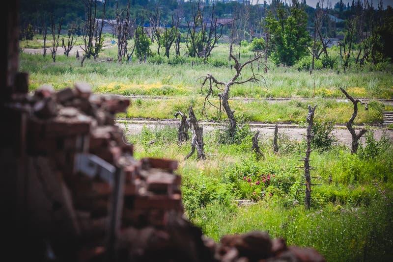 Oorlog, mening van ruïnes in Donbass stock fotografie