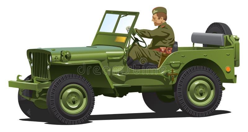 Oorlog van de wereld twee legerjeep. vector illustratie