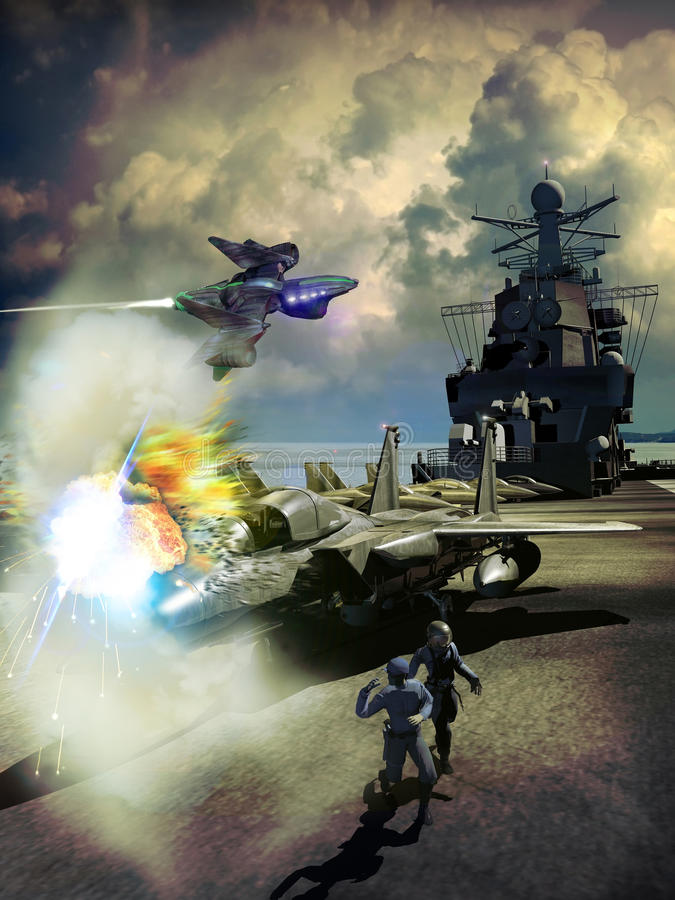 Oorlogsaanval royalty-vrije illustratie