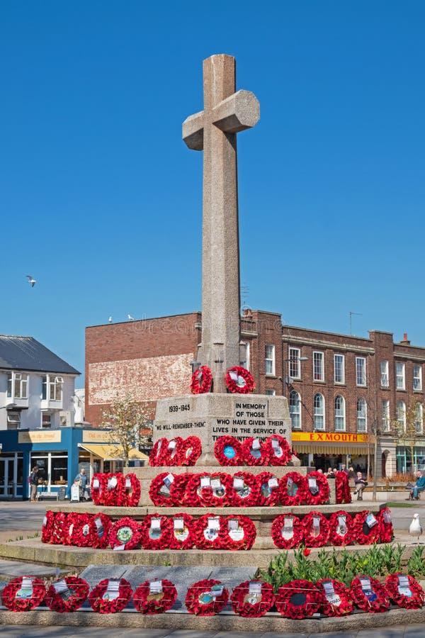 Oorlogsgedenkteken in een stad het UK van Zuidendevon stock foto