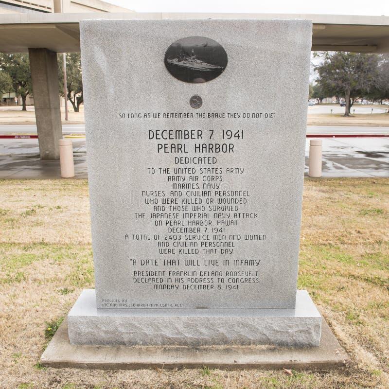 Oorlogsmonument aan alle krachten van de V.S. bij Parelhaven in de Veteranen Herdenkingstuin stock foto
