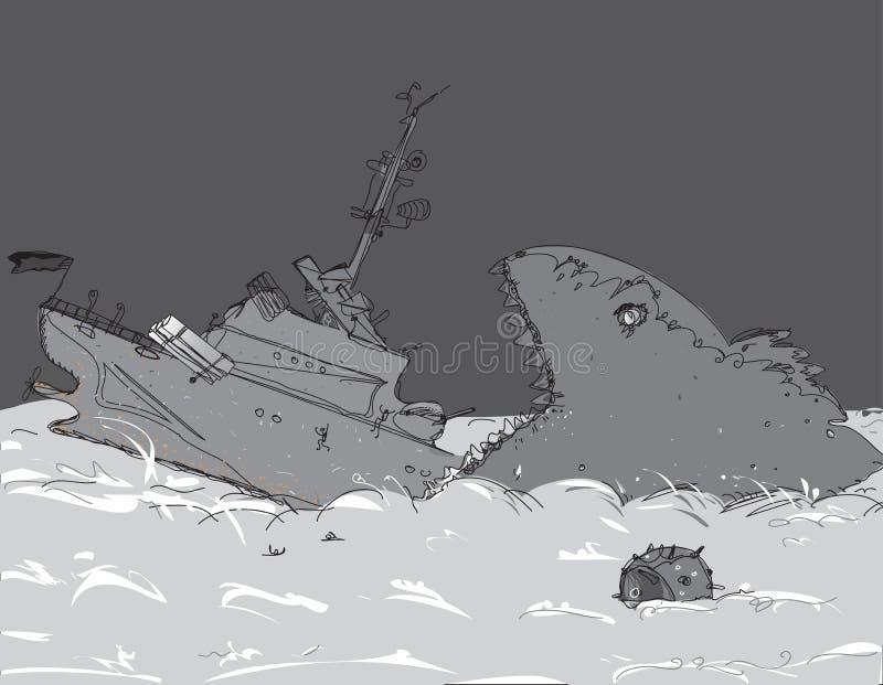Oorlogsschip het Dalen royalty-vrije illustratie