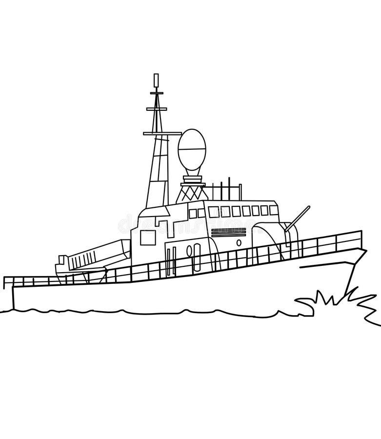 Oorlogsschip kleurende pagina stock illustratie