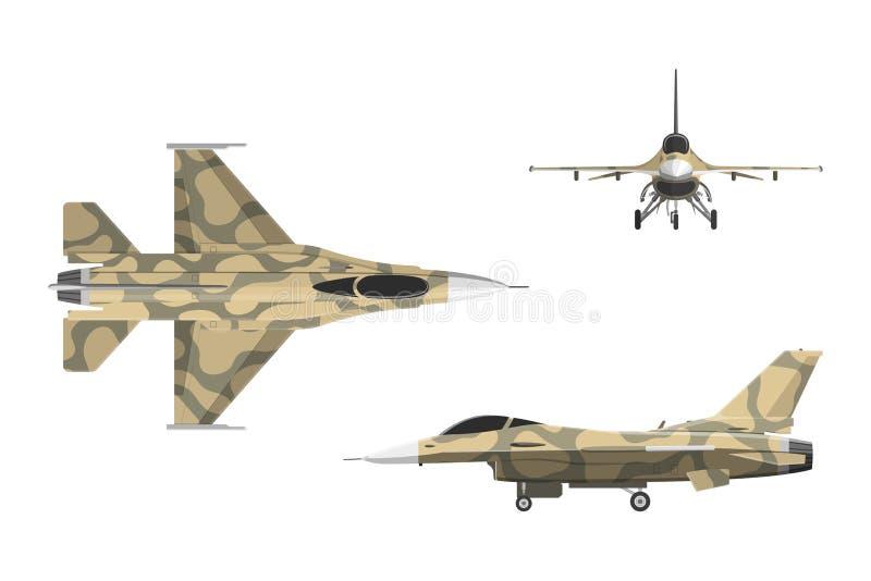 Oorlogsvliegtuig in vlakke stijl Militaire vliegtuigen in hoogste, zij, voorv stock illustratie