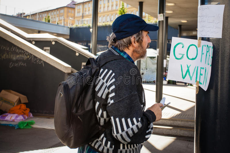 Oorlogsvluchtelingen bij het Keleti-Station royalty-vrije stock foto's