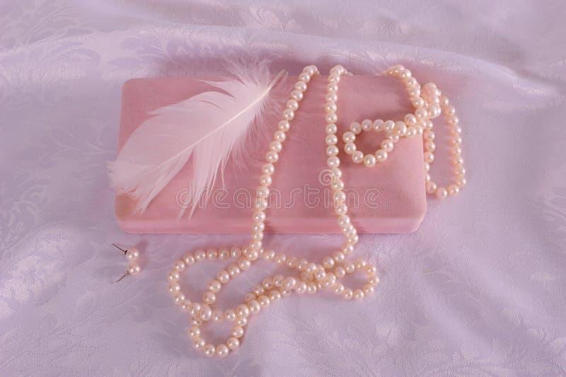 oorringen, doezelaar en necklace stock afbeelding